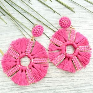 NWT Hot Pink & Gold Circle Fringe & Beaded Earring